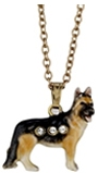 Kubla Crafts Bejeweled Enamel KUB 3315N German Sheperd Necklace