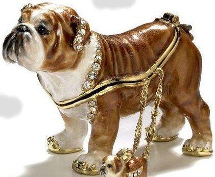Kubla Crafts Bejeweled Enamel KUB 3348 Bulldog Box