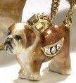 Kubla Crafts Bejeweled Enamel KUB 3348BN Bulldog Box and Necklace