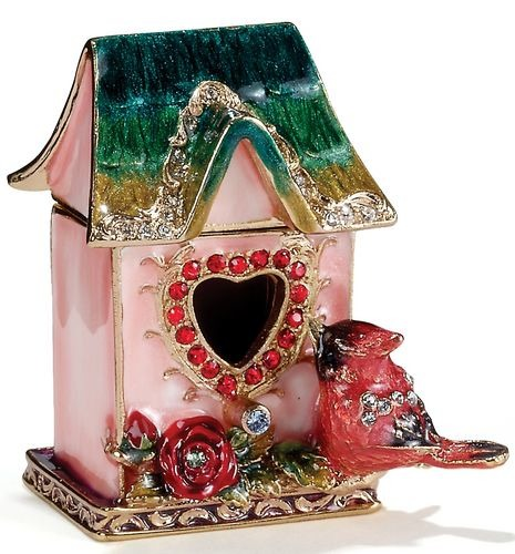 Kubla Crafts Bejeweled Enamel KUB 3349 Cardinal Birdhouse Box