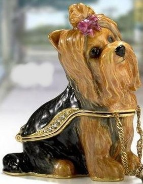 Kubla Crafts Bejeweled Enamel KUB 3361 Yorkie Yorkshire Terrier Dog Box