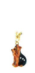 Kubla Crafts Bejeweled Enamel KUB 3361N Yorkie Yorkshire Terrier Dog Necklace