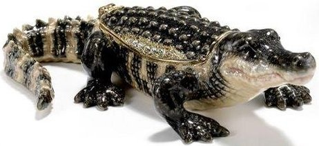 Kubla Crafts Bejeweled Enamel KUB 3373 Alligator Box