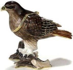 Kubla Crafts Bejeweled Enamel KUB 3385 Red Tail Hawk Box