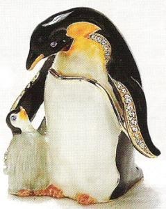 Kubla Crafts Bejeweled Enamel KUB 3405 Penguin and Baby Box