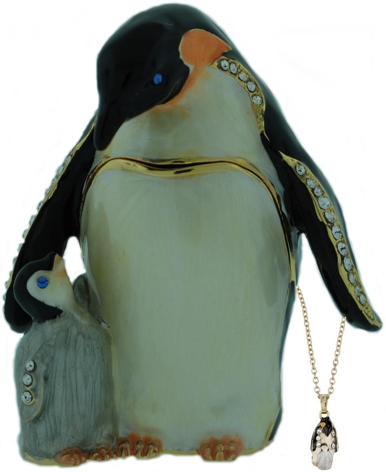 Kubla Crafts Bejeweled Enamel KUB 3405PN Penguin Box with Necklace