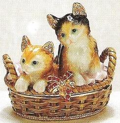 Kubla Crafts Bejeweled Enamel KUB 3441 Kitten in Basket Box