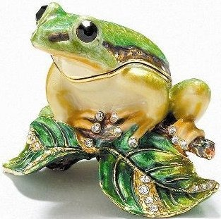 Kubla Crafts Bejeweled Enamel KUB 3467 Frog Box