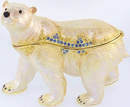 Kubla Crafts Bejeweled Enamel KUB 3483 Polar Bear Box Large