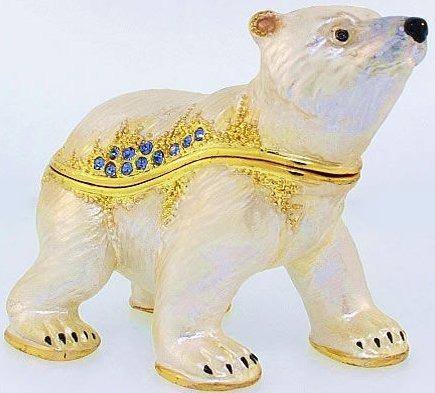 Kubla Crafts Bejeweled Enamel KUB 3484 Polar Bear Baby Box