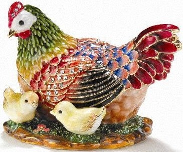 Kubla Crafts Bejeweled Enamel KUB 3495 Hen and Chicks Box