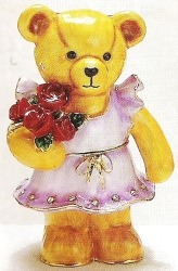 Kubla Crafts Bejeweled Enamel KUB 3590 Teddy Bear Rose Bouquet Box