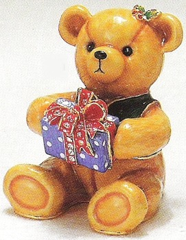 Kubla Crafts Bejeweled Enamel KUB 3708 Teddy Bear with Gift Box
