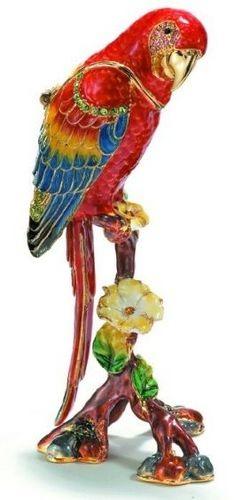 Kubla Crafts Bejeweled Enamel KUB 3722 Red Macaw Parrot Box