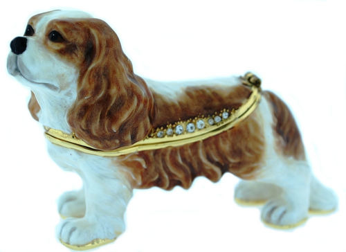 Kubla Crafts Bejeweled Enamel KUB 3724 Cavalier Dog Box