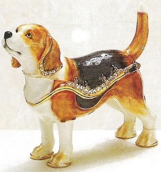 Kubla Crafts Bejeweled Enamel KUB 3727 Beagle Dog Box
