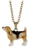 Kubla Crafts Bejeweled Enamel KUB 3727N Beagle Necklace
