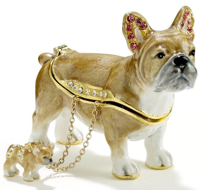 Kubla Crafts Bejeweled Enamel KUB 3730BN French Bull Dog Box with Necklace