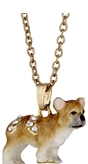 Kubla Crafts Bejeweled Enamel KUB 3730N French Bull Dog Necklace