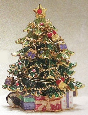 Kubla Crafts Bejeweled Enamel KUB 3736 Christmas Tree Box