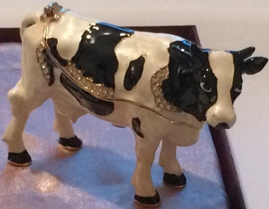 Kubla Crafts Bejeweled Enamel KUB 3745 Cow Box
