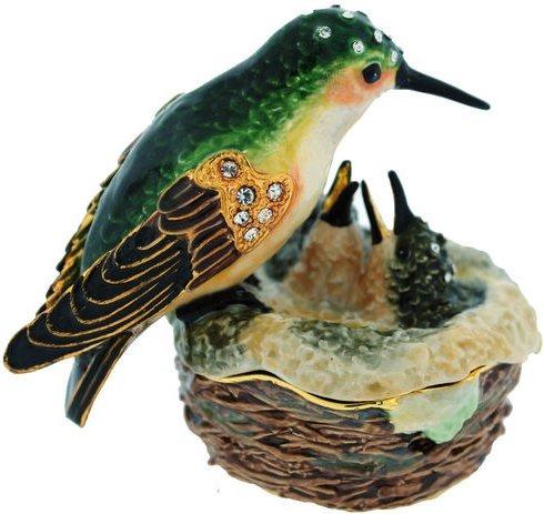 Kubla Crafts Bejeweled Enamel KUB 3764 Hummingbird and Nest Box