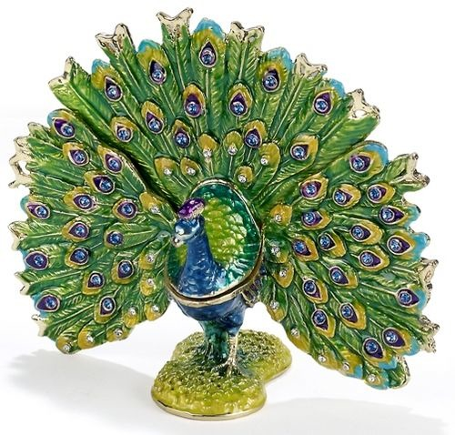 Kubla Crafts Bejeweled Enamel KUB 3777 Peacock Fan Box