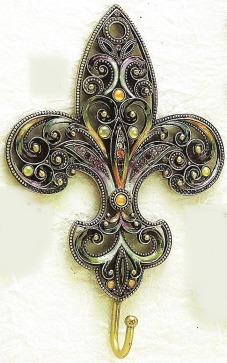 Kubla Crafts Bejeweled Enamel KUB 3779 Jeweled Enamel Fleur De Lis Wall Hook