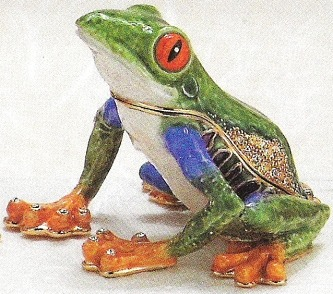 Kubla Crafts Bejeweled Enamel KUB 3781 Tree Frog Box