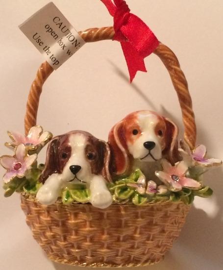 Kubla Crafts Bejeweled Enamel KUB 3785 Puppies in Flower Basket Box
