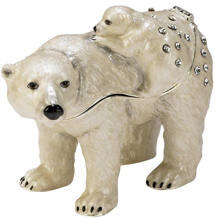 Kubla Crafts Bejeweled Enamel KUB 3797 Polar Bear and Baby Large Box