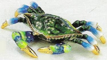 Kubla Crafts Bejeweled Enamel KUB 3802C Blue Crab Box