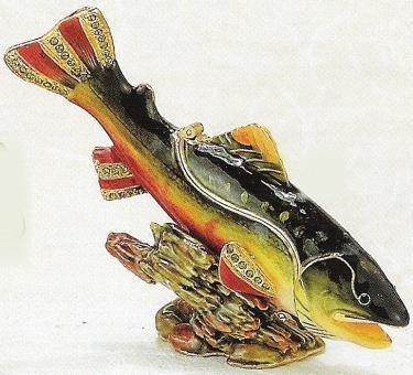 Kubla Crafts Bejeweled Enamel KUB 3803 Fish Box