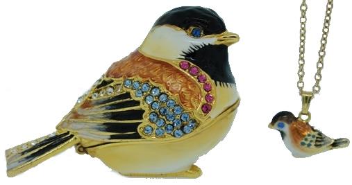 Kubla Crafts Bejeweled Enamel KUB 3810CN Chicadee Box and Necklace