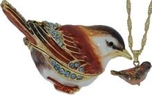 Kubla Crafts Bejeweled Enamel KUB 3816SP Sparrow Box with Necklace
