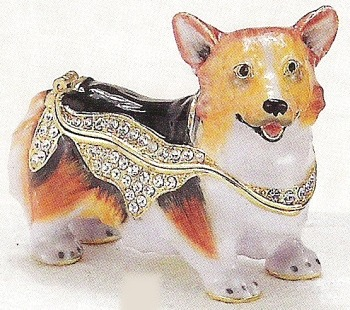 Kubla Crafts Bejeweled Enamel KUB 3837 Welsh Corgi Corgie Box