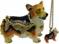 Kubla Crafts Bejeweled Enamel KUB 3837CN Welsh Corgi Corgie Box with Necklace