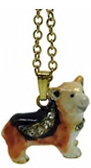 Kubla Crafts Bejeweled Enamel KUB 3837N Welsh Corgi Corgie Necklace