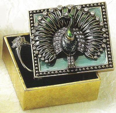 Kubla Crafts Bejeweled Enamel KUB 3850 Peacock Box with Austrian crystal