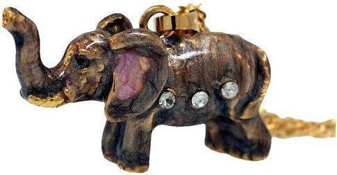 Kubla Crafts Bejeweled Enamel KUB 3859EN Elephant Box and Necklace