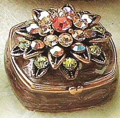 Kubla Crafts Bejeweled Enamel KUB 3874 Jeweled Flower Box