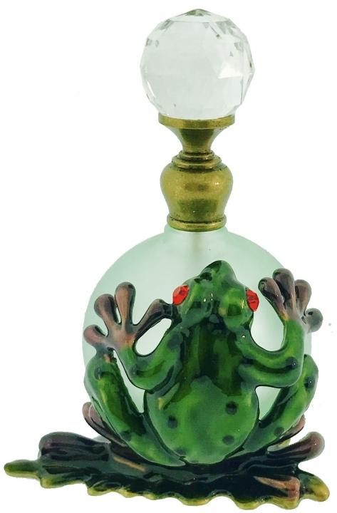 Kubla Crafts Bejeweled Enamel KUB 3875 Frog Perfume Bottle