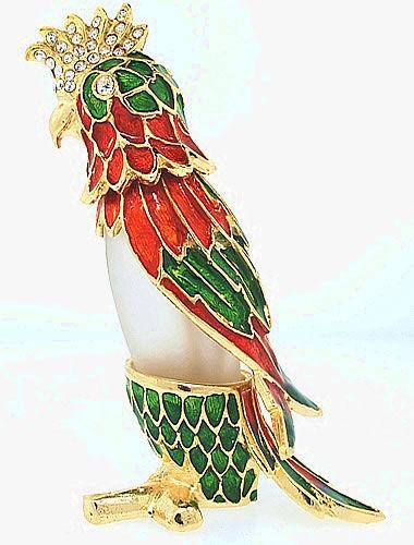 Kubla Crafts Bejeweled Enamel KUB 3878 Parrot Perfume Bottle