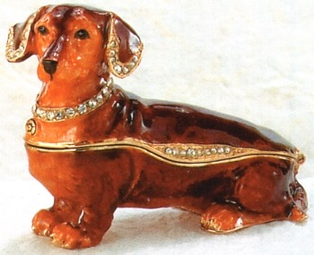 Kubla Crafts Bejeweled Enamel KUB 3907 Brown Dachshund Box