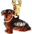 Kubla Crafts Bejeweled Enamel KUB 3907N Brown Dachsund Dog Necklace