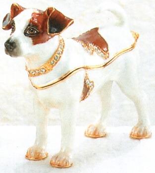 Kubla Crafts Bejeweled Enamel KUB 3909 Jack Russell Terrier Box