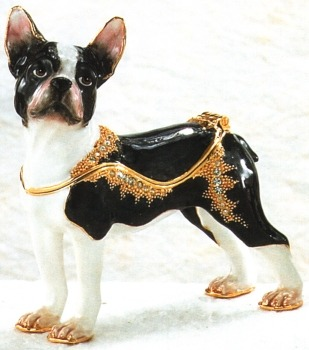 Kubla Crafts Bejeweled Enamel KUB 3915 Boston Terrier Box