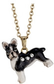 Kubla Crafts Bejeweled Enamel KUB 3915N Boston Terrier Necklace