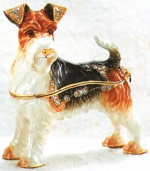 Kubla Crafts Bejeweled Enamel KUB 3923 Fox Terrier Box