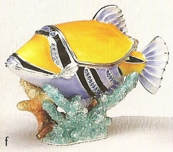 Kubla Crafts Bejeweled Enamel KUB 3929 Humu Humu Fish Box